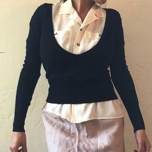 Black BCBG Maxazria deep cut sweater shirt